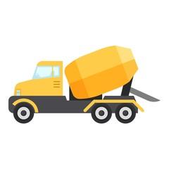Concrete mixer truck icon, flat style