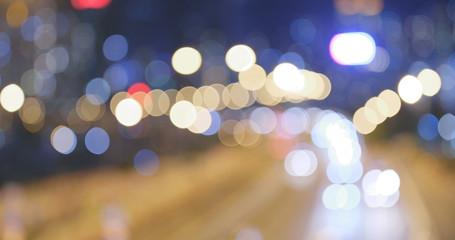 Blur of city traffic at night Fotomurales