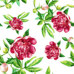 Seamless pattern of peonies painted in watercolor.