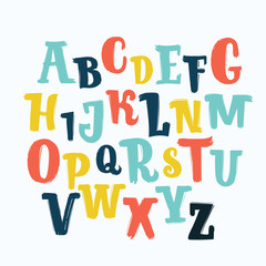 Vector unique lettering font, hand drawn. ABC, kids, funny, children. Isolated, letters set, alphabet, paint splashes, color.