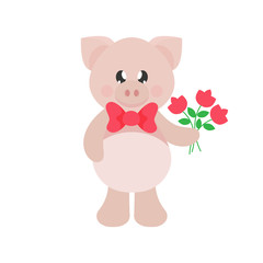 cartoon cute pig with tie and flowers