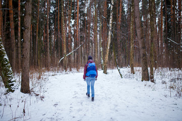 Photo from back of woman with backpack walking through winter forest