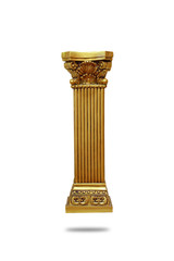 Gold roman column isolated on white