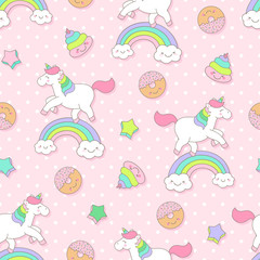 Cute pastel unicorn, donut, poop seamless pattern with pink background