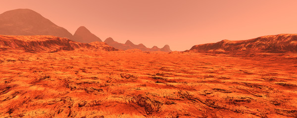 Photo on textile frame Red 3D Rendering Planet Mars Lanscape