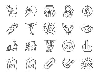 Harassment and abuse line icon set. Included the icons as victim, sexual harassment, molestation, assault, violent, inappropriate, women and more.