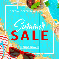 Summer sale promo web banner. Top view on red sun glasses, seashells, cocktail, smartphone, flip flops and sea sand on wooden texture. Vector illustration with special discount offer.
