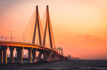 Bandra Worli Sea link in Mumbai at sunset