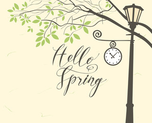 Vector banner with inscription Hello Spring. Spring landscape with green tree in the park and Clock on the lamp post