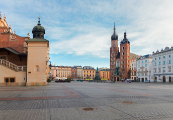 Autocollant pour porte Cracovie Market square in Krakow, Poland