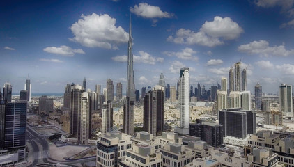 Aerial view of Dubai Downtown skyline along the river