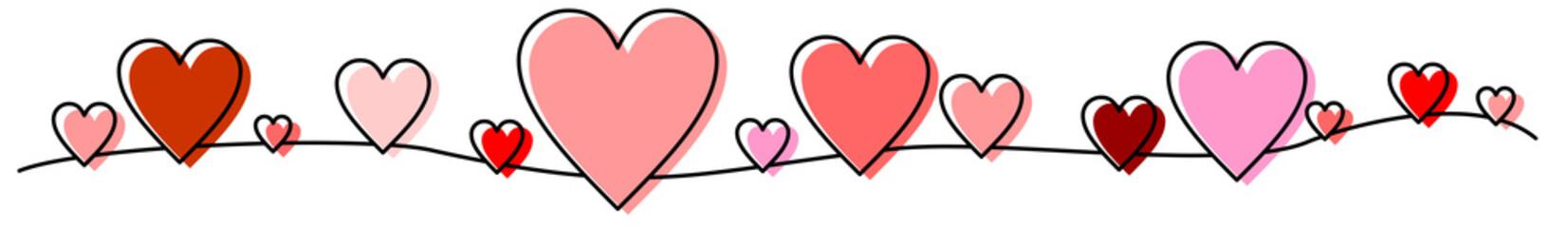 Rote und rosa Herzen als Banner, Band