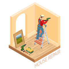 Isometric interior repairs concept. Worker is drilling a wall.