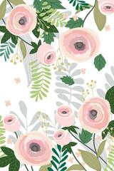 Flower background banner pastel color vintage style. Vector illustration. Summer, spring forest and garden plants