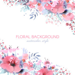 Lovely vector floral background in watercolor style