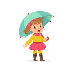 Sweet little girl in warm clothing walking with umbrella, cute kid enjoying fall, autumn kids activity vector Illustration