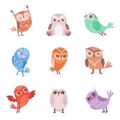Cute cartoon owls set, lovely colorful owlets vector Illustrations