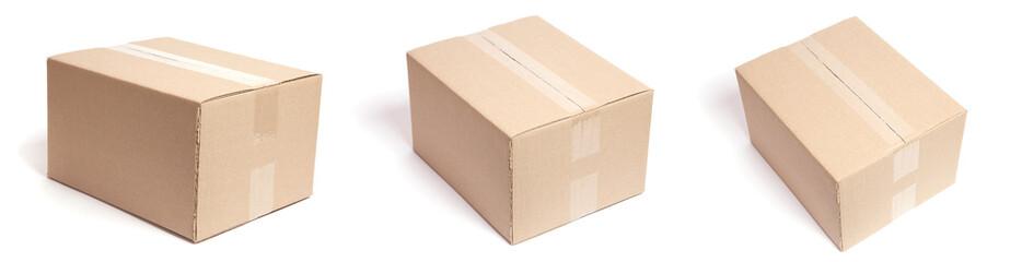 Set of carton box parcel isolated on white background