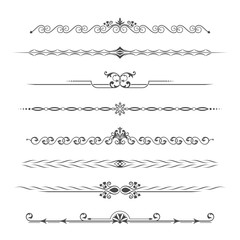 Set of calligraphical monochrome elements