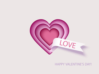 Valentines Day card with hearts. Paper cut design. Vector illustration