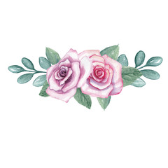 Watercolor flowers. A bouquet of roses on a white background, is isolated.