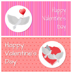 Happy Valentines Day Banners Doves Fly Peacefully