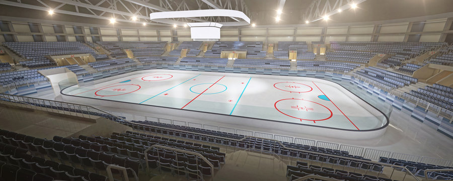 3d hockey stadium with blank cube text space and an empty ice rink sport arena rendering
