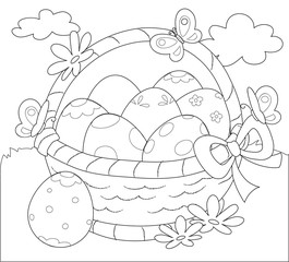 Basket of Easter eggs coloring vector