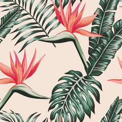 Bird of paradise leaves green color tropical seamless pattern