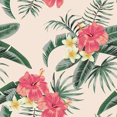 Wall Mural - Plumeria hibiscus leaves tropical seamless pattern