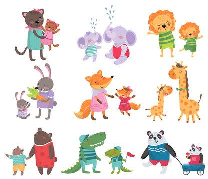 Cartoon set of cute animal family portraits. Cats, elephants, lions, bunnies, foxes, giraffes, bears, crocodiles and pandas. Flat vector for children s book or education card