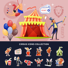 Circus Cartoon Colored Composition