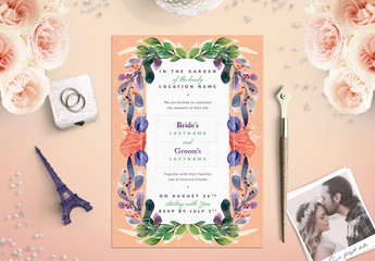 Bright Floral Border Wedding Invitation 1