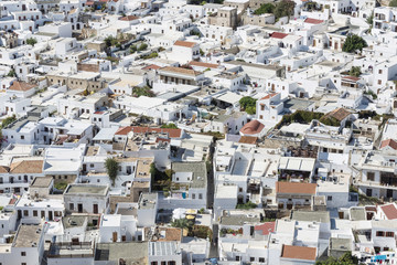 Top view of the white ancient city of Lindos