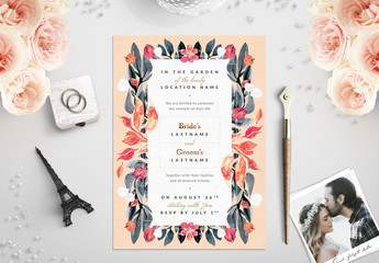 Orange and Sage Floral Border Wedding Invitation 1