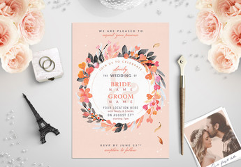 Orange and Sage Floral Wreath Border Wedding Invitation 1