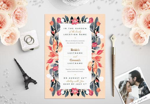 Orange and Sage Floral Border Wedding Invitation 1