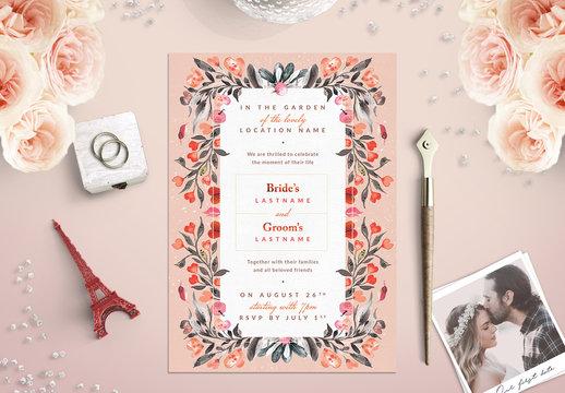 Orange and Sage Floral Border Wedding Invitation 2