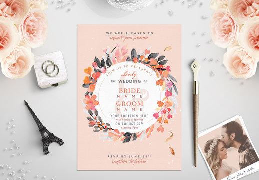 Orange and Sage Floral Wreath Border Wedding Invitation 1