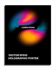 Hologram abstract poster template. Gradient trendy design.