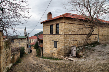 Famous stone homes in Yesilyurt Village, Canakkale, Turkey