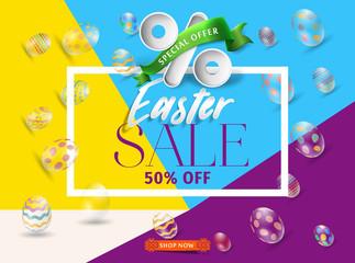 Easter flyer sale 50% off vector. Easter sale desain.