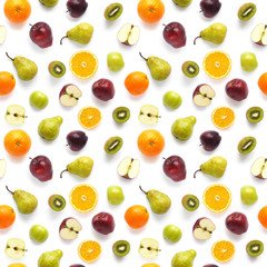 Fototapete - Food texture. Seamless pattern of fresh  various fruits. Pears, red and green apples, slices of tangerines, oranges, kiwi, isolated on white background, top view, flat layout.