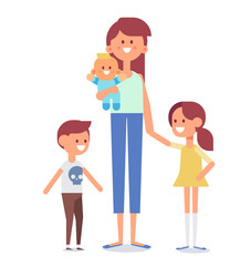 Mother with kids vector illustration.