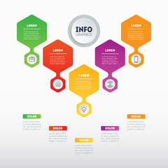 Business presentation concept with 5 options. Template of a sales pipeline, purchase funnel, info chart or diagram. Vector infographic of technology or education process with 5 steps.