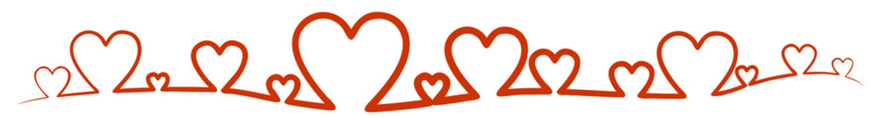 Rote Herzen bilden ein Band, Banner.