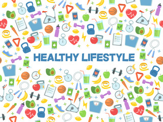 Healthy lifestyle vector illustration. Fitness, nutrition and health.