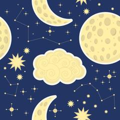 Night sky pattern kids. Moon, star, clouds.