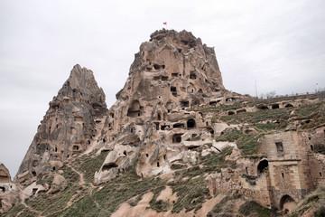 Uchisar castle in Cappadocia,Turkey
