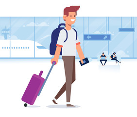 People traveling design. Smiling man holding passport ready for vacation travel at the airport. Flat Vector illustration. Character design.